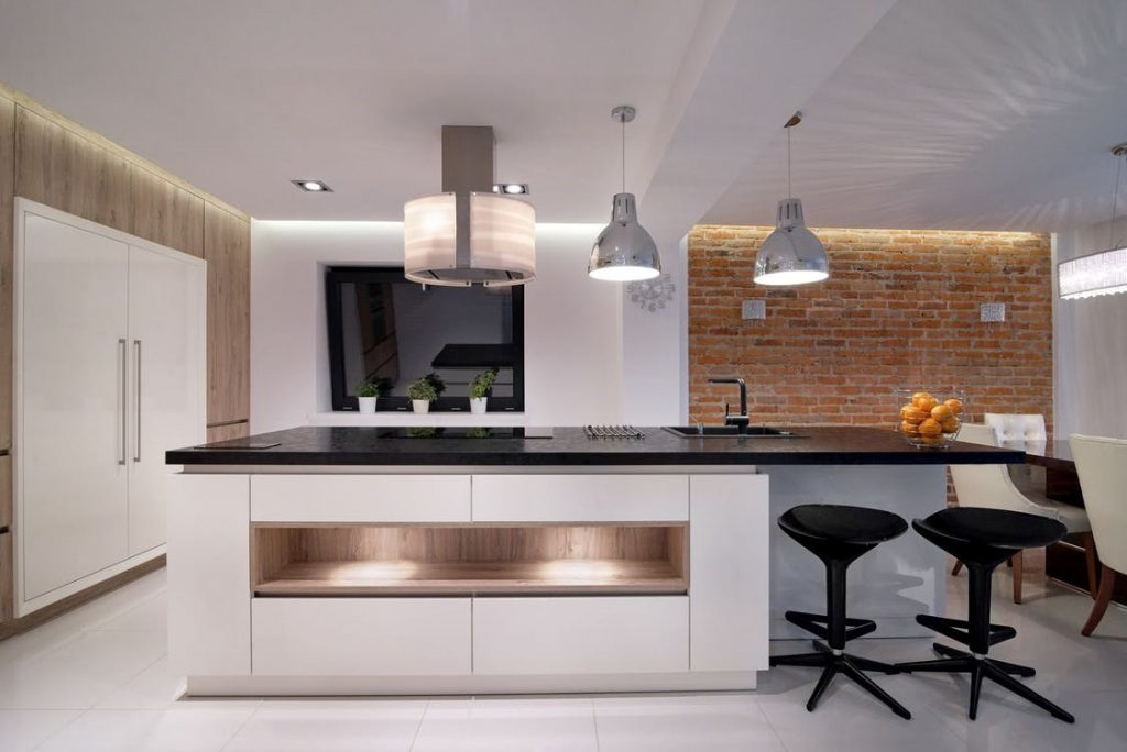kitchen with white tiled floor