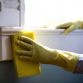 cleaning windowsill