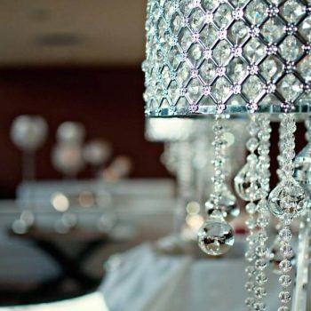 lamp decorated with hanging crystals