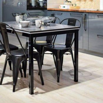 kitchen table on laminate wooden flooring