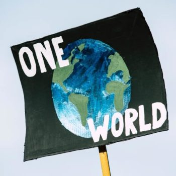 Climate Change Protest Sign Showing The Earth and the Words One World